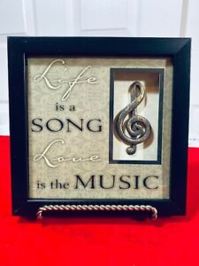 """""""Life Is A Song, Love Is The Music"""" framed decorative hanging 3D mount 8x8 inch"""