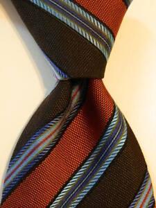 ERMENEGILDO ZEGNA Men's 100% Silk Necktie ITALY Luxury STRIPED Brown/Orange GUC