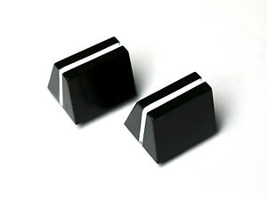 Slider knobs - pair of - Black with White line -14mm width - Replacement Caps