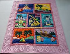 Hawaiian quilt baby blanket  wall hanging hand quilted/machine appliquéd PINK