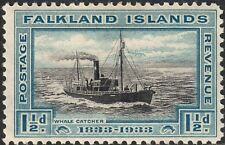 """Falkland Islands 1933 KGV 1½d Centenary with """"Break in Clouds"""" Variety MHR"""