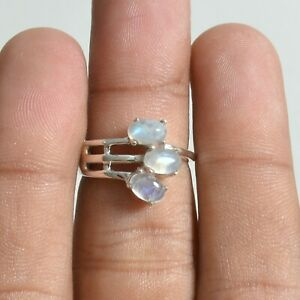 Moonstone Gemstone Three Stone Ring Size 6 Silver Jewelry For Girls KB05211