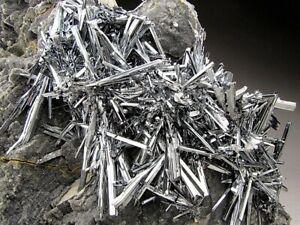 Stibnite Crystals on Matrix, Xikuangshan, China