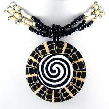 "STUNNING 2.4"" SPIRAL CONE SHELL BEADS necklace ; DA039"
