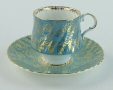 Elizabethan Cup and Saucer Footed England Turquoise Gold Designs Trim Scalloped