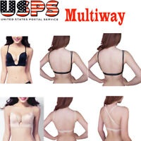 Ultra Deep V Plunge Push up U Bra Bustier Party Cleavage Top 3 Way Straps Tank