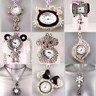 Retro Silver Eames Chic Pendant Necklace Ladies Crystal Enamel Watch LTD Edition