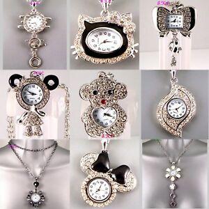 Silver Retro Eames Chic Pendant Necklace Ladies Enamel Crystal Watch LTD Edition