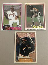 (3) HOF Joe Morgan Baseball Cards ⚾️ 1981 Topps Traded ⚾️ 81 Donruss ⚾️ 82 Fleer