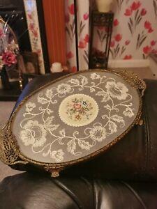 Fabulous Oval  Vintage  Petit Point Filigree Vanity/ Dressing Table Tray