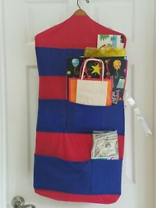 Hanging Gift Wrap Storage Closet Organizer w/ Pockets red blue holiday occasions