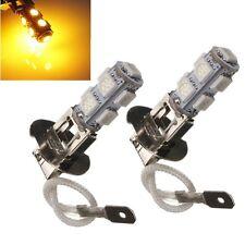 2pcs H3 9 LED 5050 SMD Amber Yellow Car Fog Driving Headlight Light Lamp Bulb