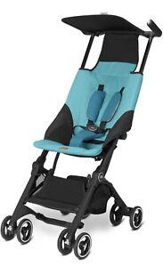 gb Pockit Ultra Compact Lightweight Travel Stroller Worlds Smallest Folding Blue