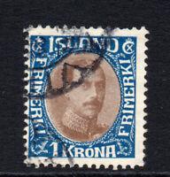 Iceland 1 Krona Stamp Used c1931-33 (3392)