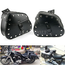 Motorcycle Rider Saddlebags Pannier Luggage Leather Pouch Bag Saddle Bags