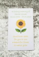 10 Personalised Sunflower Seed Packets Envelopes Funeral filled or unfilled