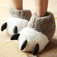 Strange Men Women Animal Monster Feet Slippers Claw Bear Paw Plush Shoes 4442