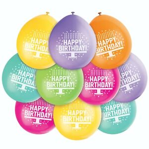 Happy Birthday Balloons Assorted Colours Birthday Ages 1-100 Air Fill Pack of 10