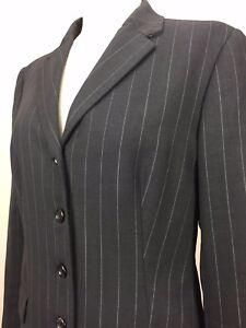 Piazza Sempione Women's Blazer Charcoal Pinstripe Wool Blend Button Up - IT 44