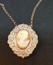 Amedeo Shell Cameo Pave CZ  Medallion Rose Gold Tone Necklace