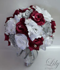 17 Piece Package Wedding Bridal Bouquet Silk Flower BURGUNDY SILVER WINE SANGRIA