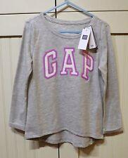 GAP Kids Girls NEW Sz 4-5 Gray Lavender White Logo Long Sleeve Shirt