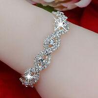 Silber Kristall Armband Damen Infinity Kette Strass Armreif Armband Schmuck Neu