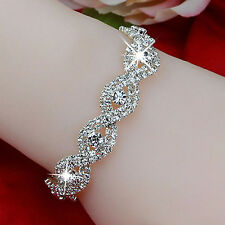 Elegant Infinity Crystal Bracelet Women Deluxe Austrian Rhinestone Bangle Gift F