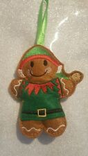 Gingerbread man  christmas elf homemade decorations ornament embroided