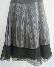 Spanner Skirt 2 Stripped Gray Black Lined  Lace Hem NWT