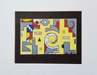 """Roy Lichtenstein """"Amerind Composition"""" Matted off-set Color Lithograph 1983"""