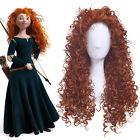 Brave Merida Cosplay Wigs Long Curly Wavy Hair Orange Brown Women Anime Wig