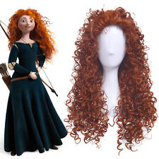 Brave Merida Cosplay Wigs Long Curly Wavy Wave Orange Women Anime Hair USA Stock