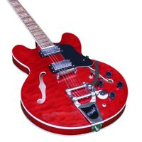 Custom Shop Semi Hollow Body Electric Guitar Bigsby Bridge Grover Tune