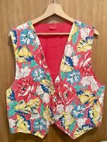 Vintage Floral Womens Cotton Waistcoat Cotton Pink Flower Power Fugly Kitsch