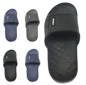 MENS BEACH POOL TOUCH FASTENING SLIDERS FLIP FLOPS MULES SHOWER SANDALS SHOES SZ
