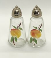 Vintage Glass Anchor Hocking Hand Painted Gay Fad Fruit Salt Pepper Shakers