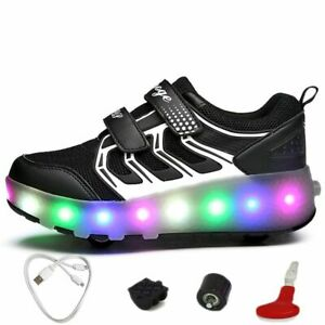 Size 27-40 Usb Charging Glowing Sneakers For Boys With Rollers Led Sneakers