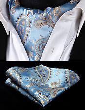 RP928BS Blue Gold Paisley Men Silk Cravat Scarves Ascot Tie Handkerchief Set