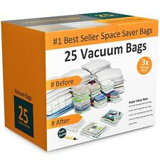 Pack of 25 Vacuum Storage Bags Air Tight Seal Closet Space Saving Organize