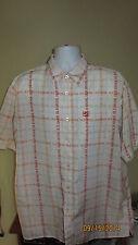 XL Old Skool School Short Sleeve Button Down Casual Shirt White Orange