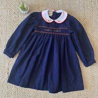 VTG 90s Smocked Blue Christmas Dress Peter Pan Collar Floral Tie Back Girls 5