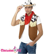 Mens Instant Wild West Western Cowboy Costume Kit Texas Rodeo Fancy Dress Hat