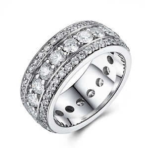 18K White Gold Fine Jewelry 3.1ct Moissanite Anniversary Band Luxurious Ring