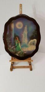 Vintage Unicorn 80s Wood Art Plaque Sue Dawe ?