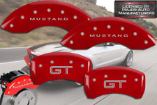 """2005-2009 Ford """"Mustang GT"""" Base Front + Rear Red MGP Brake Disc Caliper Covers"""