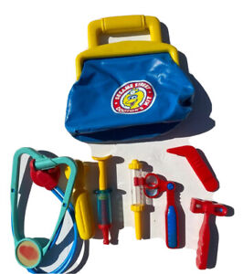 Sesame Street Kids Play Doctor's Kit Medicine Bag & Tools Tyco 1993 Vtg 90s