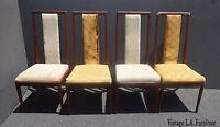 Four Vintage Mid-Century Modern Walnut Wood Dining Chairs For Refurbish