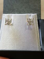 Genuine 9ct Solid Gold Princess Cut Diamond Simulant Studs RRP$249.00