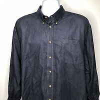Naturalife Blue Corduroy Long Sleeve Button Down Shirt XL Cotton